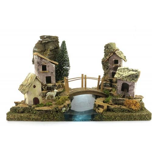 Case con ponte e fiume per presepe Napoletano, modellino in legno
