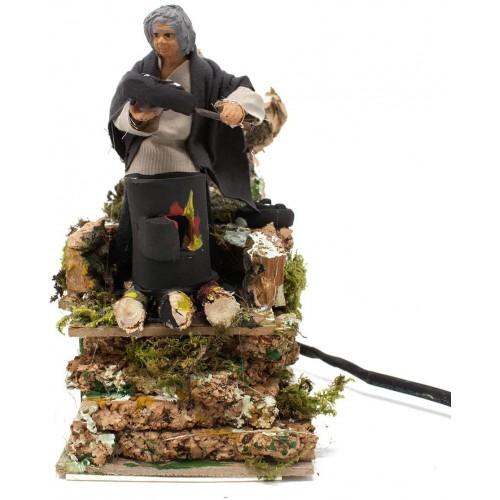 Statuina Pastore per presepe in movimento, venditore di castagne