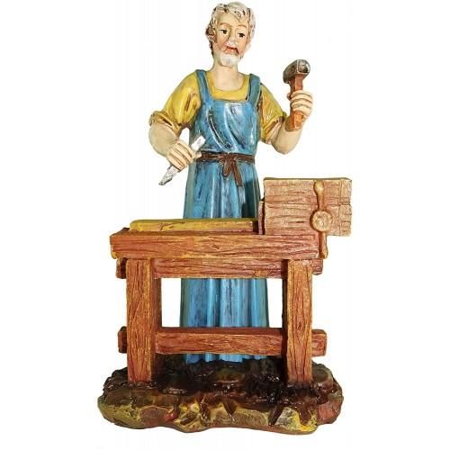 Statuina per presepe, falegname al banco, altezza 12 cm