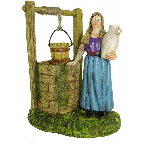 Statuina donna al pozzo per presepe, da 10 cm, in resina