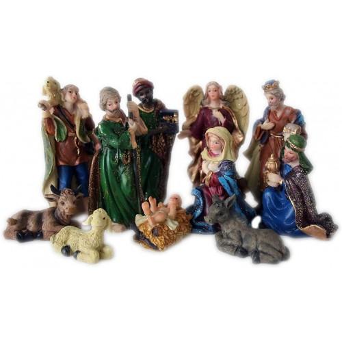 Set statuine Natività, confezione da 11 pezzi, in plastica pressofusa