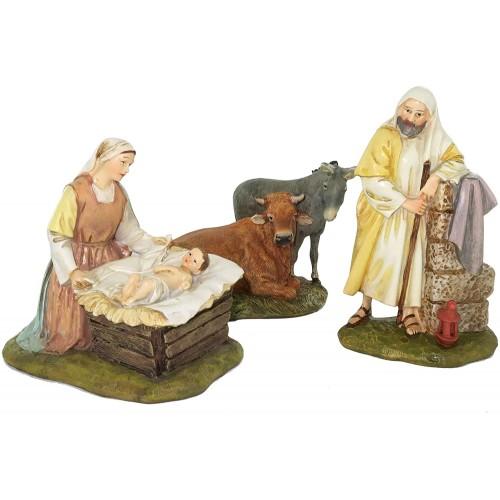 Statuine Natività per presepe da cm 12, in resina, 5 personaggi