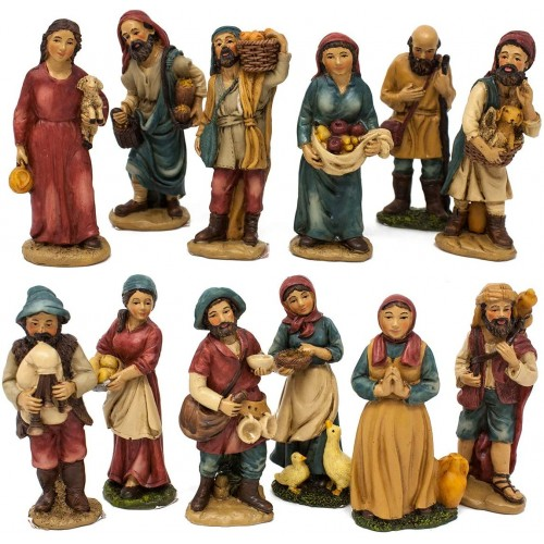 Set 12 Pastori in Resina da 10 cm per presepe, assortiti