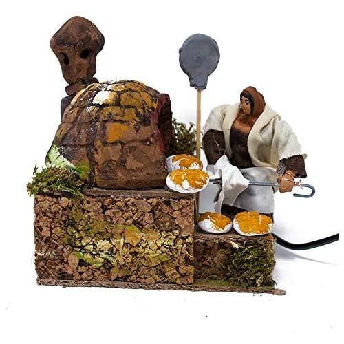 Pastore fornaio per presepe in movimento, in terracotta, da 14 x 9 cm