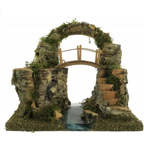Modellino Arco di roccia con ponte sul fiume per presepe Natalizio