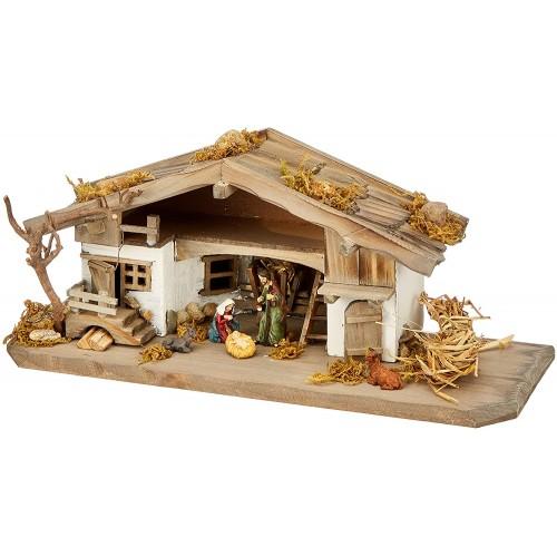 Presepe in legno massiccio completo con 3 statuette, Natività