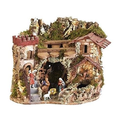 Paesaggio con fontana, case e gratta per presepe, in legno e stucco
