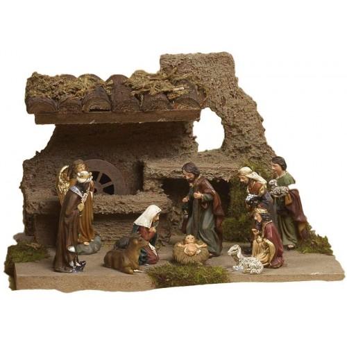 Set scenografia Presepe Napoletano in legno e resina e 10 statuine