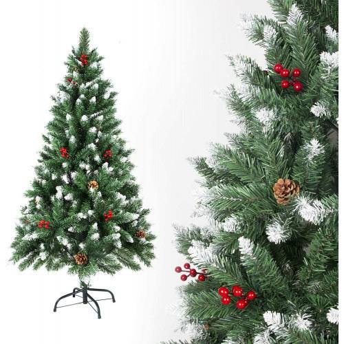 Albero di Natale da 120 cm, bianco con pigne