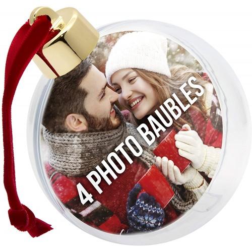 Set 4  palline di Natale personalizzabili con foto