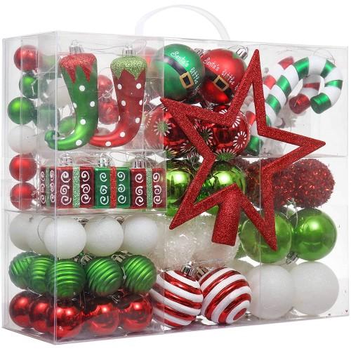 Set 100 Palline di Natale e decorazioni elfo, per albero di Natale