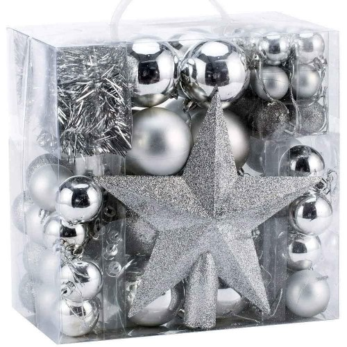 Confezione 77 Palline di Natale argento e addobbi vari