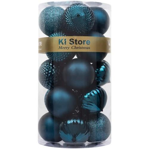 Set da 24 palline di Natale blu elettrico, in 4 finiture speciali