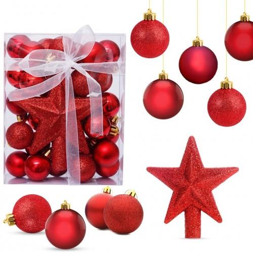 Set da 30 Palle di Natale Rosse lucide, opache e glitterate