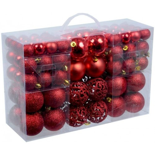 Set da 100 palline di Natale rosse opache, lucide  e glitter