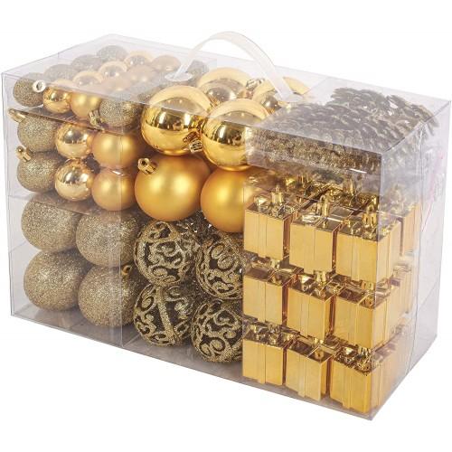 Set di 101 Decorazioni e palline oro per albero di Natale