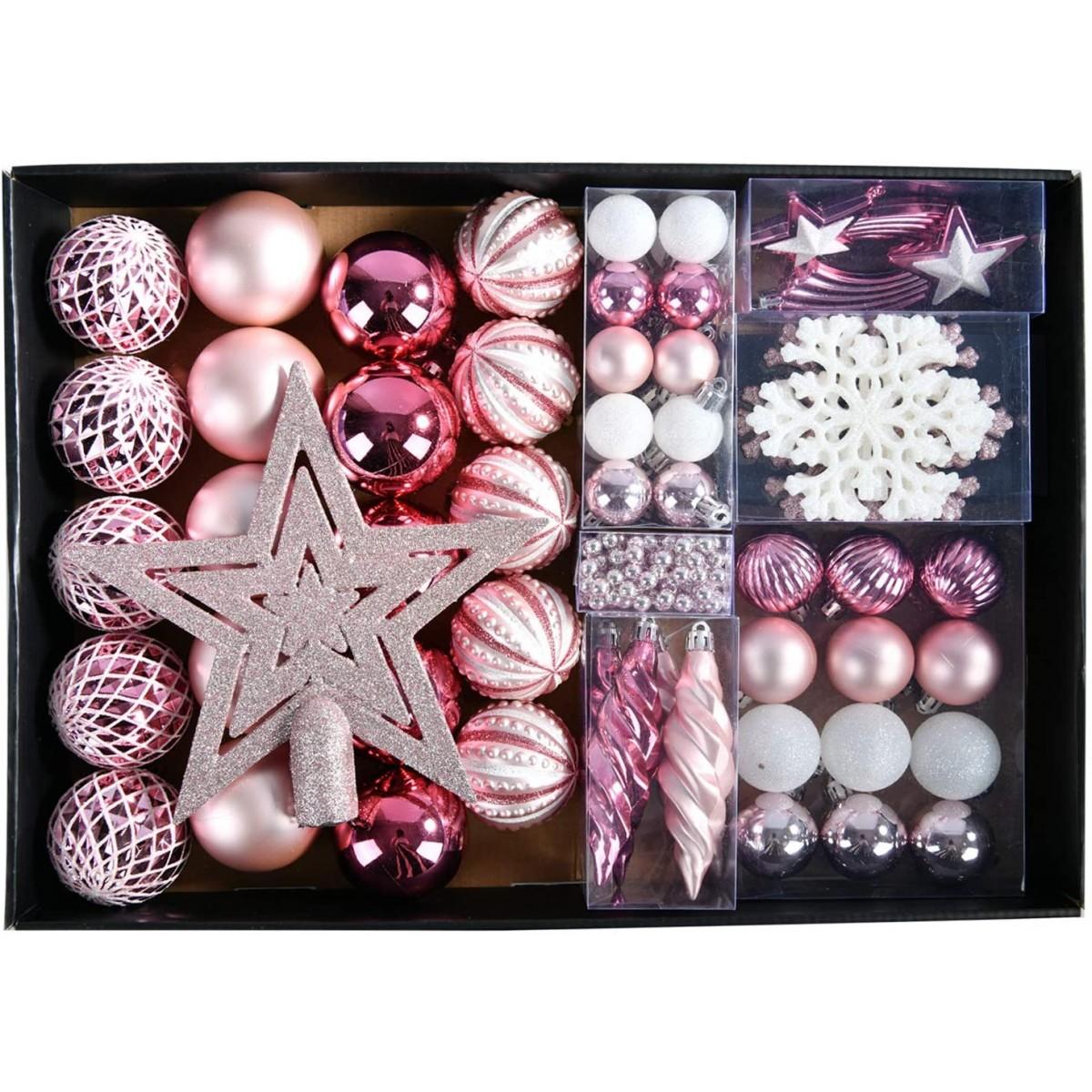 Addobbi Albero Natale.Set Decorazioni Albero Di Natale Rosa Gold Con 68 Palline E Accessori