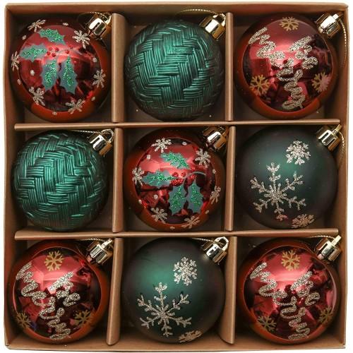 Set 9 Palline di Natale rosso, verde e oro da 6 cm