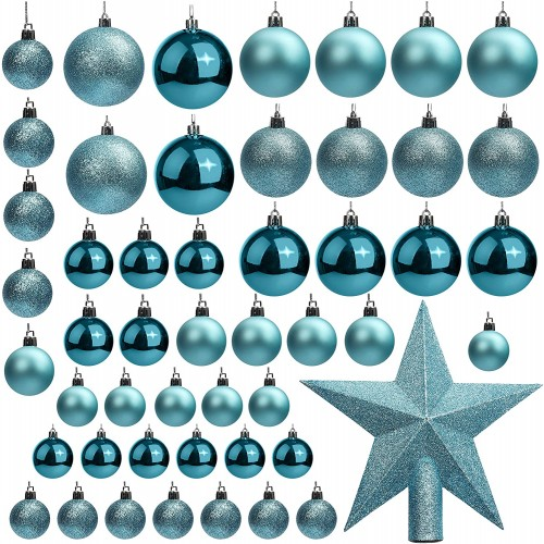 Set 50 Palline Albero di Natale Blu e azzurre, opache e lucide