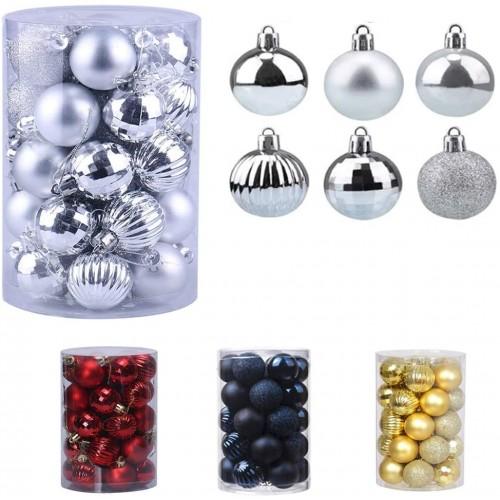 Set da 43 Palline di Natale bianche e argento, grafiche varie