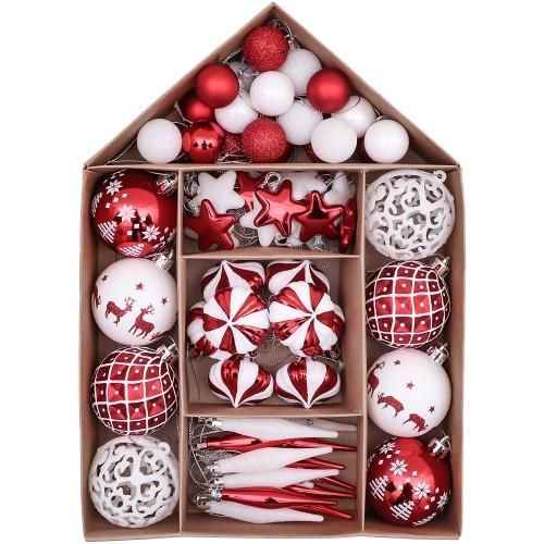 Set 70 decorazioni per Albero di Natale, con palline e ornamenti rossi e bianchi