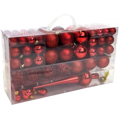 Set da 105 Palline di Natale rosse, 3 misure, lucide e opache