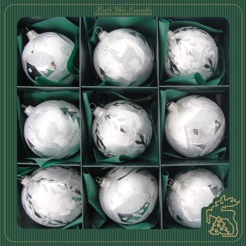 Set 9 palline per albero di Natale in vetro argento smaltato