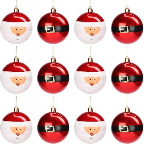 Set 12 Palline Di Natale rosse scintillanti e Babbo Natale, da 8 cm