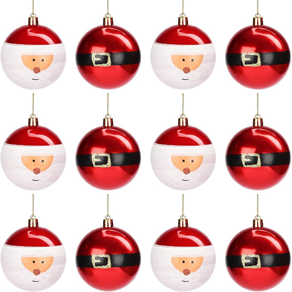 Palline Di Natale.Set 12 Palline Di Natale Rosse Scintillanti E Babbo Natale Da 8 Cm