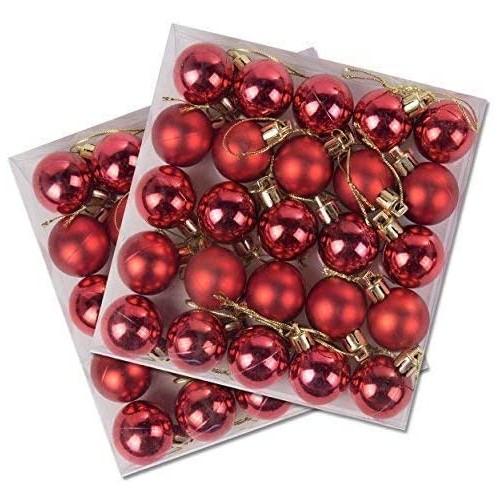Confezione da 50 palline di Natale brillanti e opache rosse