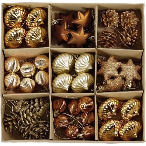Set da 45 decorazioni albero di Natale colore rame e oro