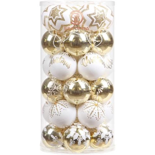 Set da 30 Palline di Natale 6 cm, eleganti, oro e bianche