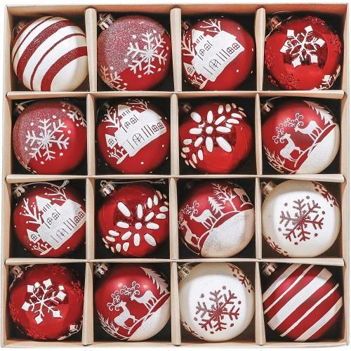 Set con 16 Palle di Natale grafiche varie, da 8 cm, conf. regalo