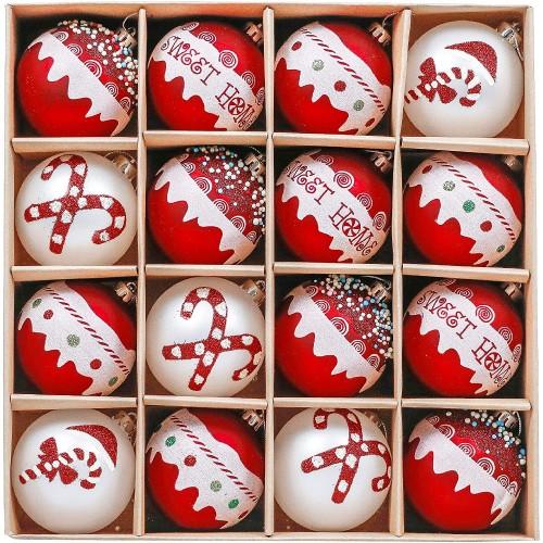 Set da 16 Palle di Natale rosso e bianco, da 8 cm, grafiche assortite