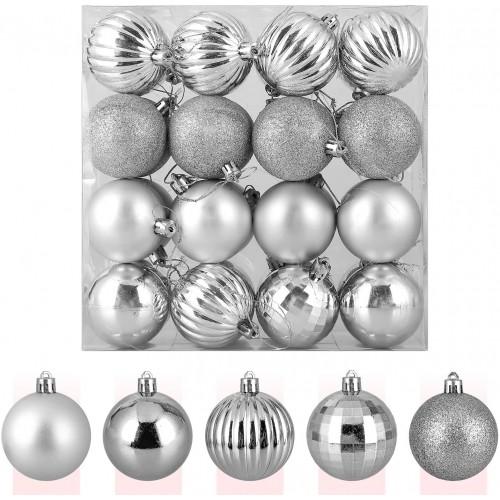 ❄ Confezione da 32  Palline di Natale argento, opache e lucide
