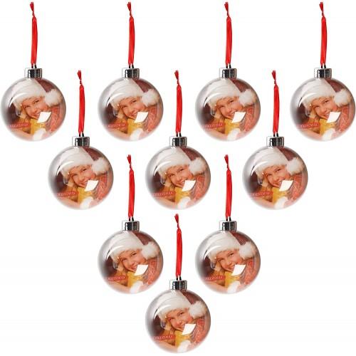 Set da 10 Palla di Natale con foto, personalizzabili