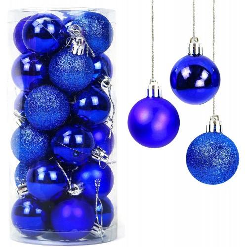 Set da 24 palle di Natale blu, lucide e glitterate, 3 tipologie