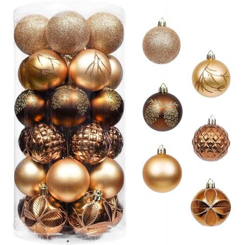 Set da 30 palle natalizie da 6cm rame e oro, per l'albero