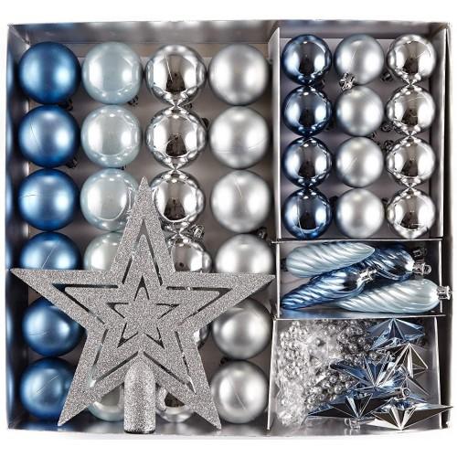 Set di 50 palline di Natale argento, blu e azzurre