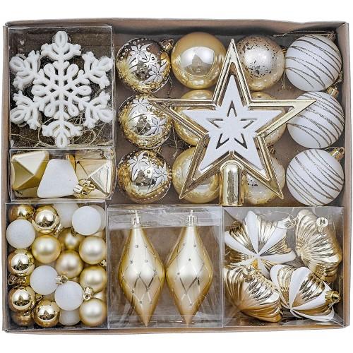 Confezione da 90 accessori e palline di Natale , bianco perla e oro