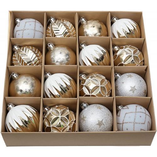Confezione con 16 palle da 8cm di Natale, oro e bianche
