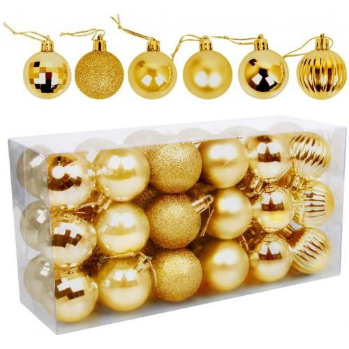 Set da 26 palline oro lucido di Natale, 4 disegni
