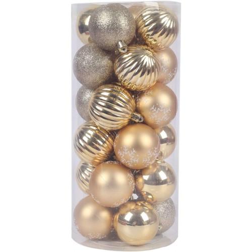 Set da 24 palline natalizia di plastica colore Oro, 4 motivi