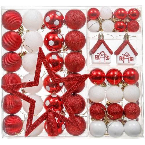 Set da 60 Palline di Natale, 3-5 cm tradizionali rosse e bianche