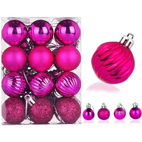 Set da 24 palline di Natale fucsia, decorazioni albero