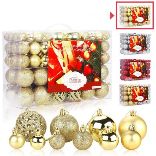 Set 100 palline oro e argento per albero di Natale, 4 stili, con scatola