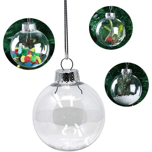 Set da 18 palline trasparenti per albero di Natale, personalizzabili