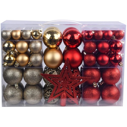 Set 100 palline con 1 puntale per albero di Natale, 4 colori