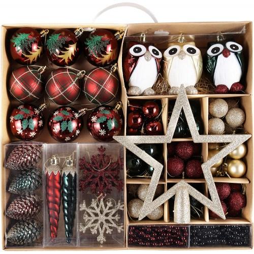 Set da 90 decorazioni albero con oggetti Natalizi e palline colorate