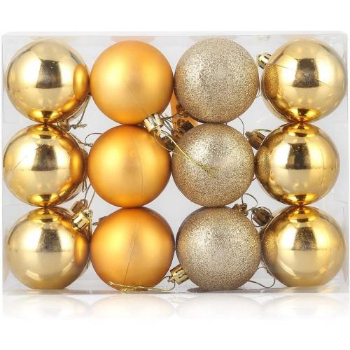 Set da  24 Palline per Albero di Natale oro classiche retrò